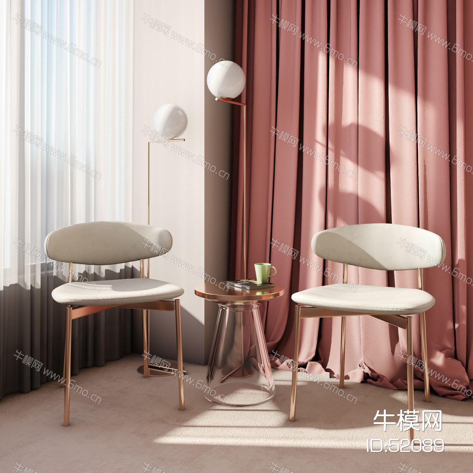 现代单椅休闲椅圆几落地灯组合