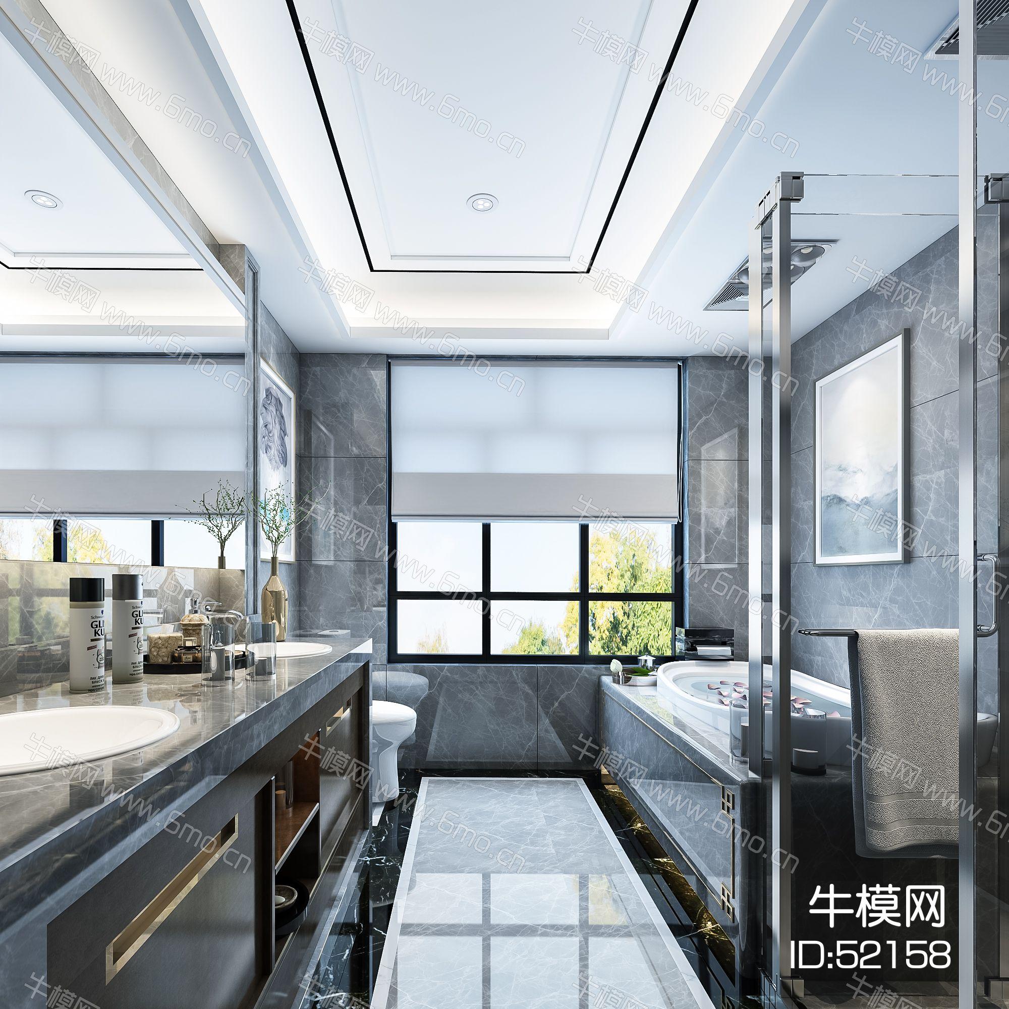 现代卫生间   马桶  洗手台 浴缸 镜子 玻璃隔断  挂画  摆件