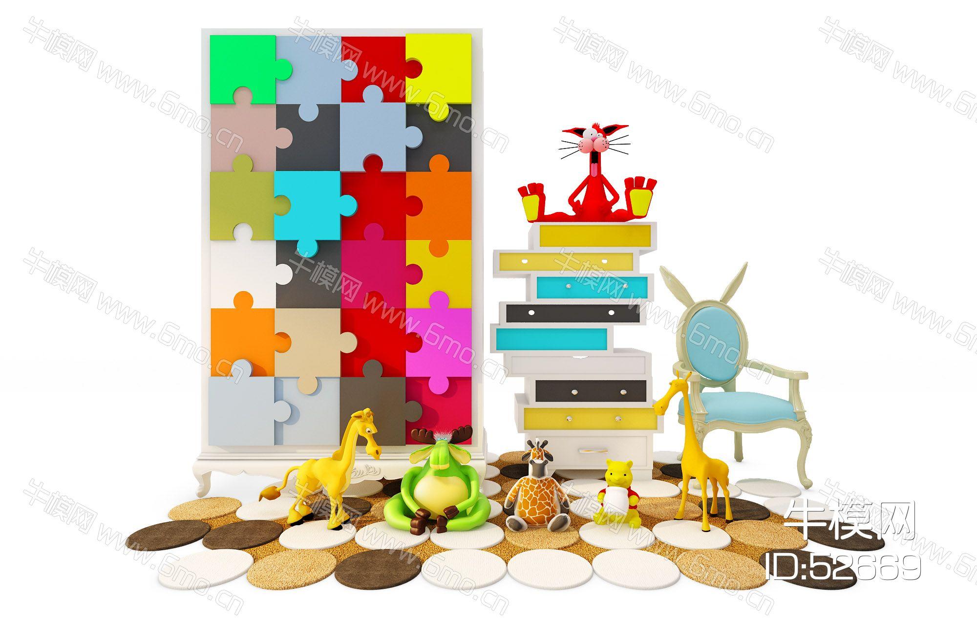 现代儿童衣柜边柜休闲椅玩具组合