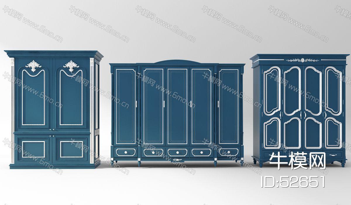 地中海欧式蓝色衣柜组合