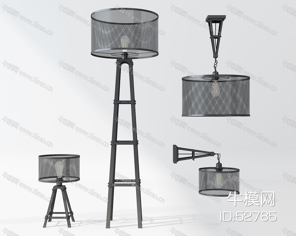 现代金属落地灯吊灯壁灯组合