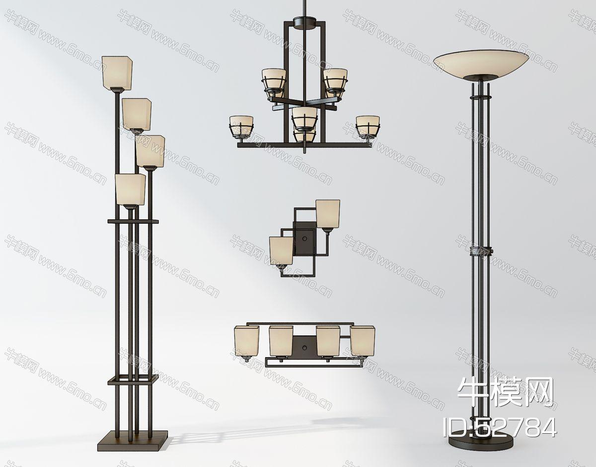 新中式金属落地灯吊灯组合