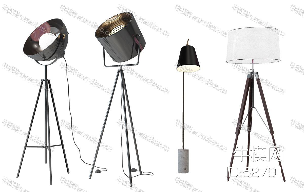 现代工业灯落地灯组合
