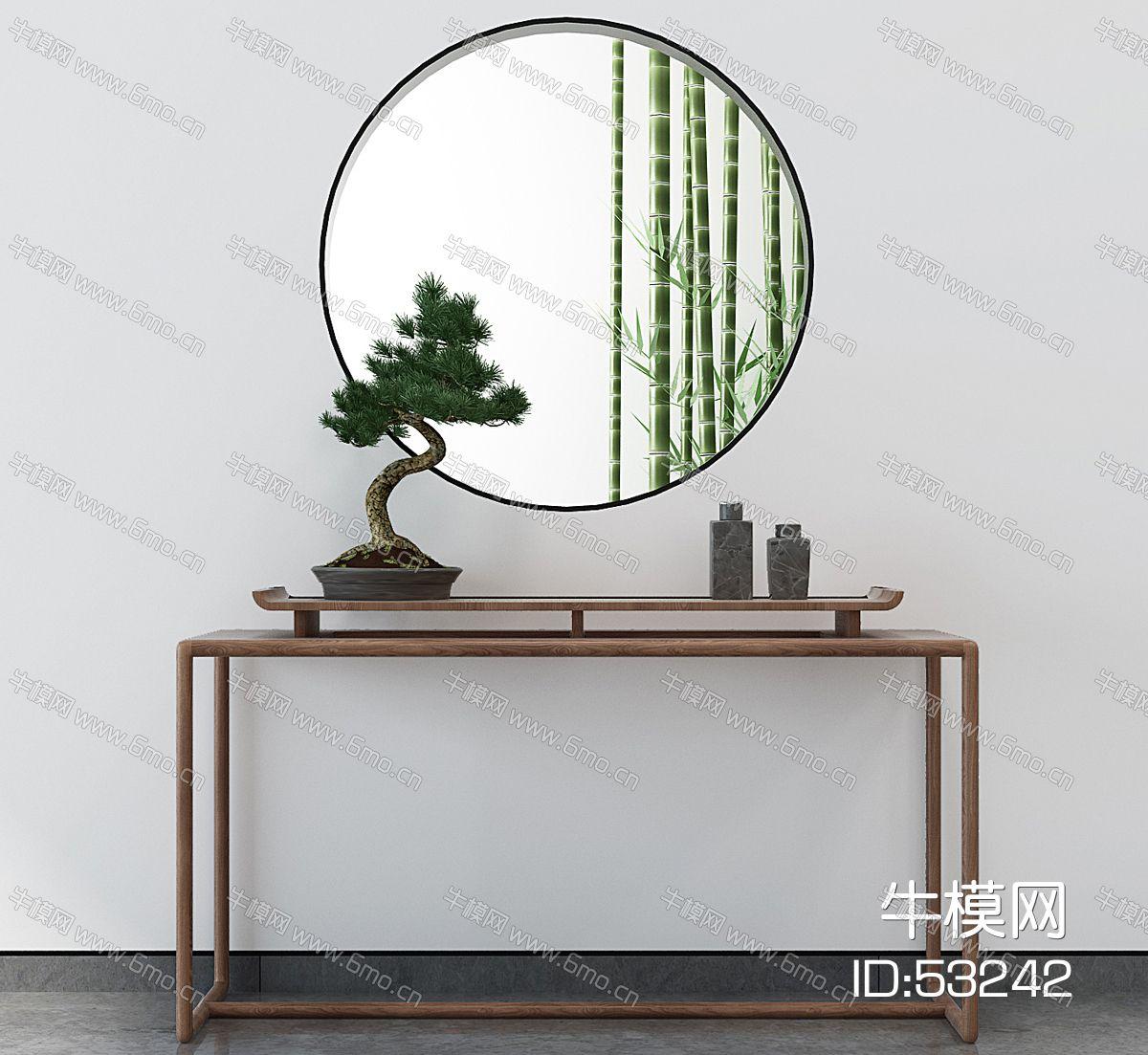 新中式玄关柜盆景
