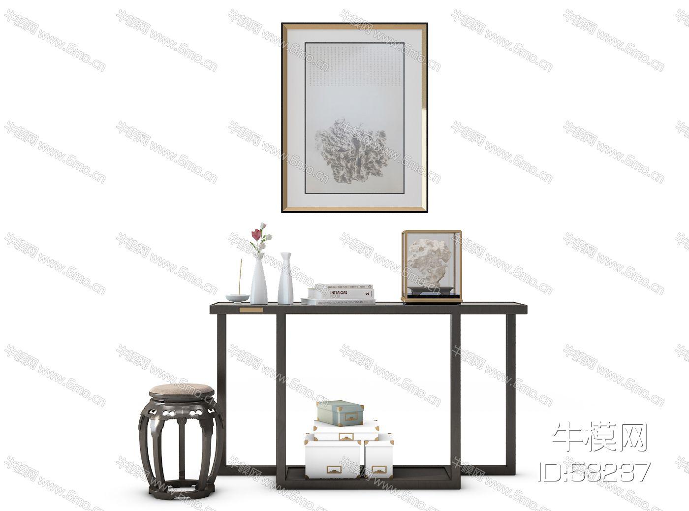 中式装饰柜圆凳组合