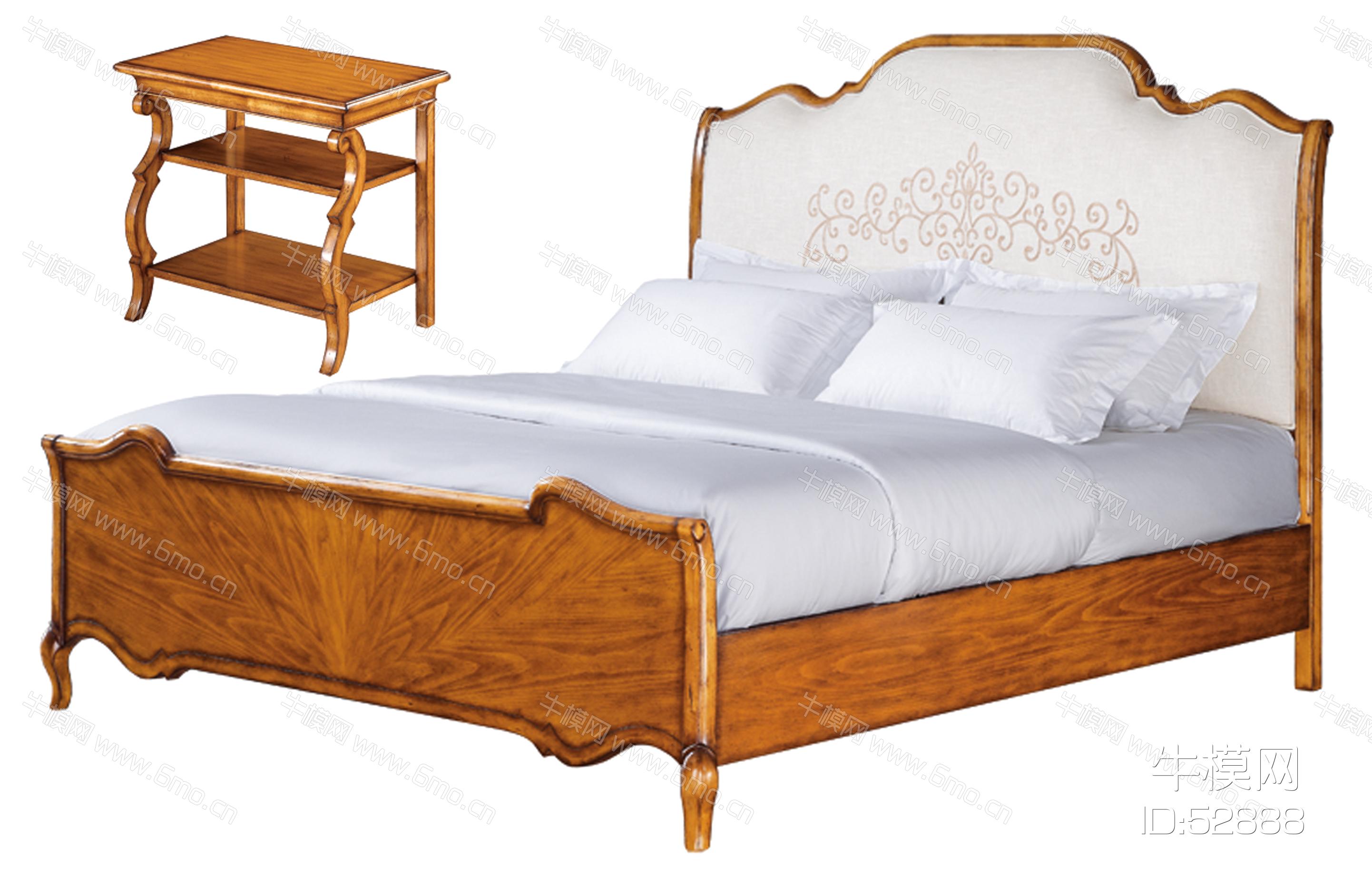 美式床和床头柜组合