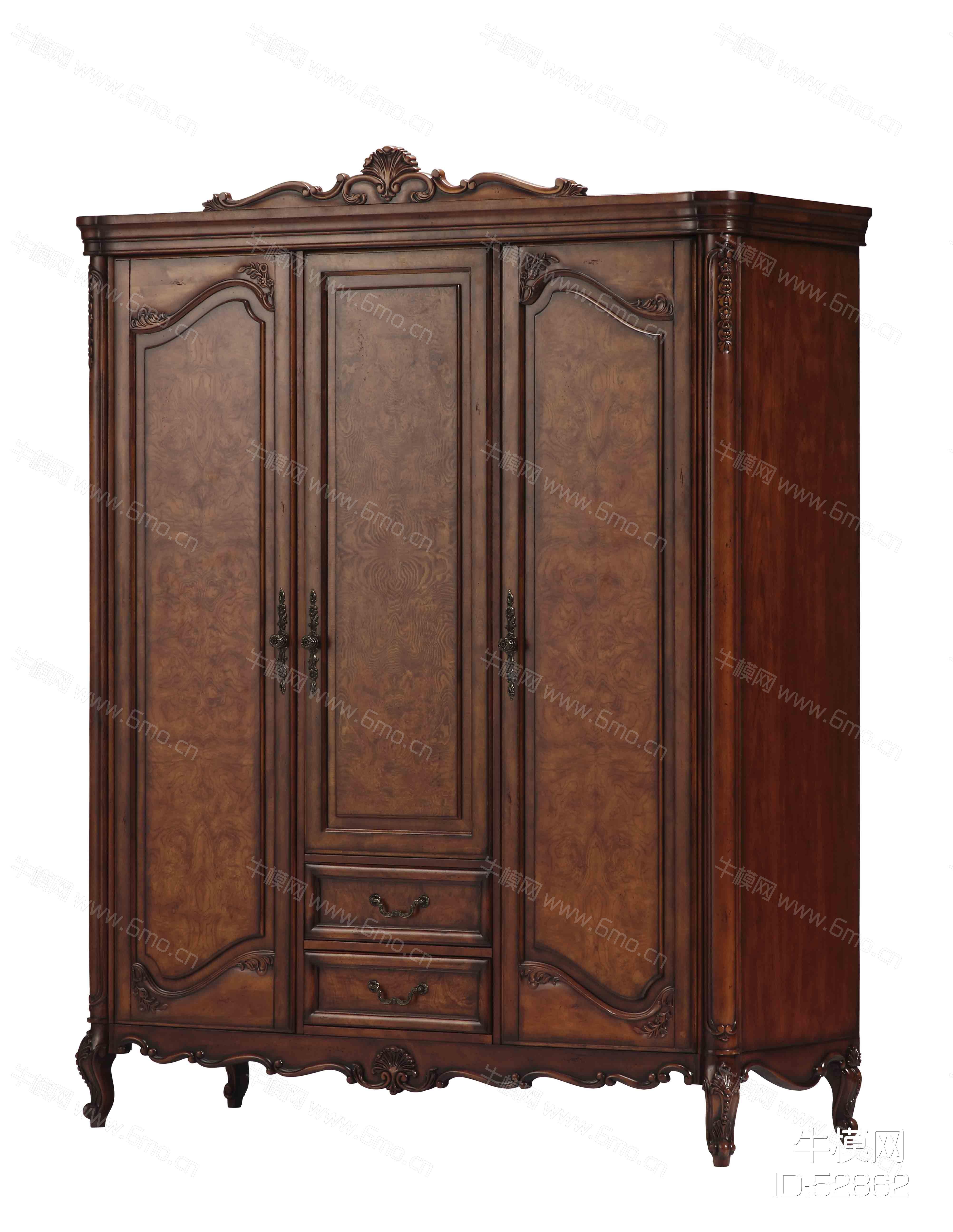 美式三门衣柜