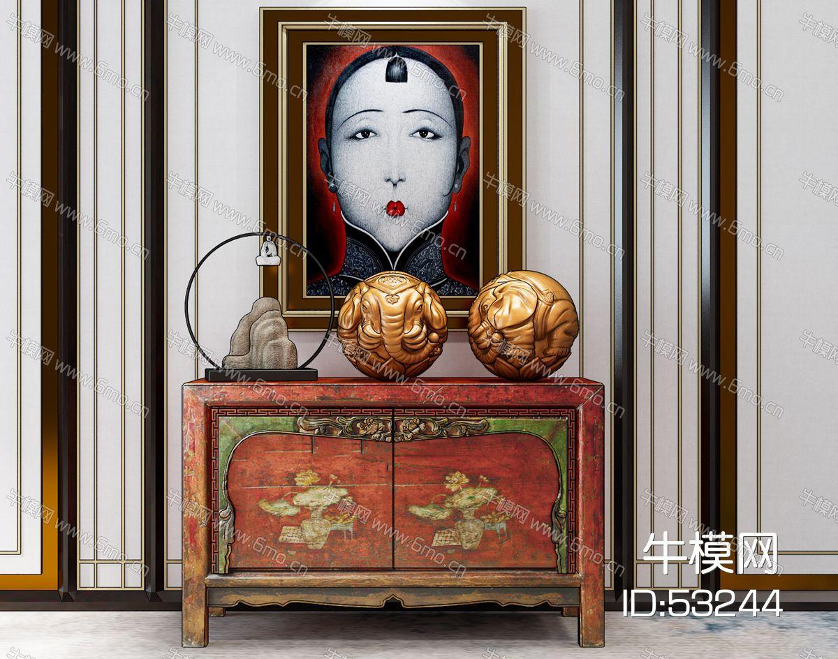 六牙象珠装饰摆件中式玄关柜