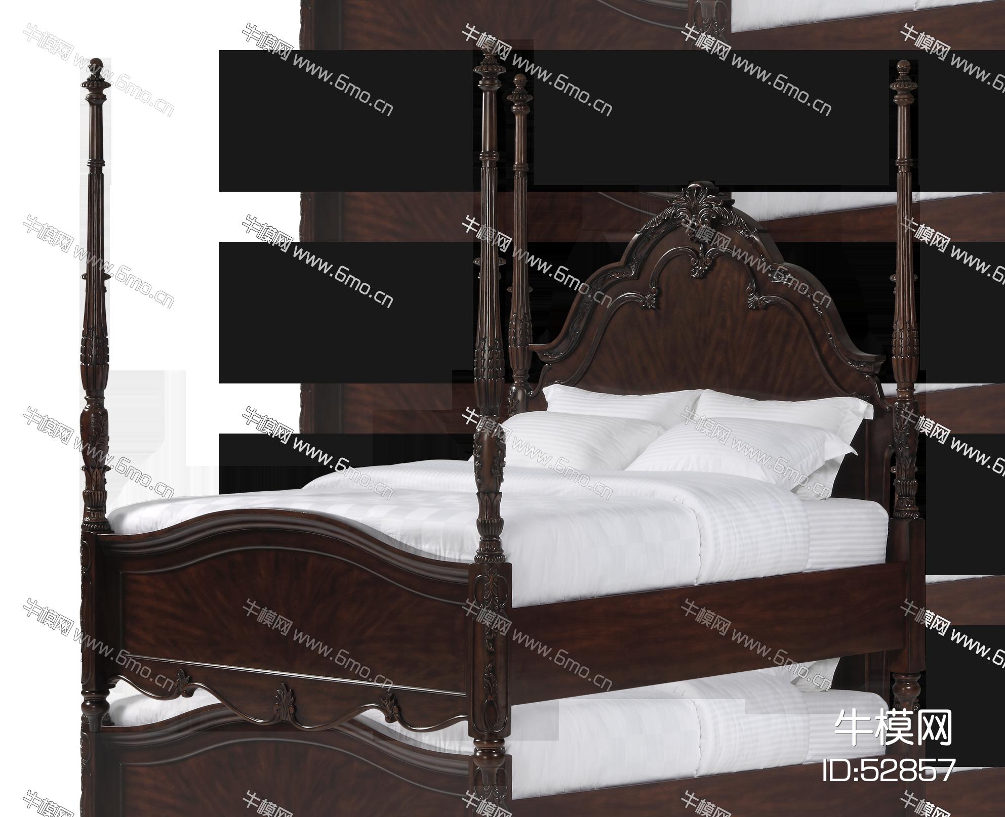 美式双人床组合