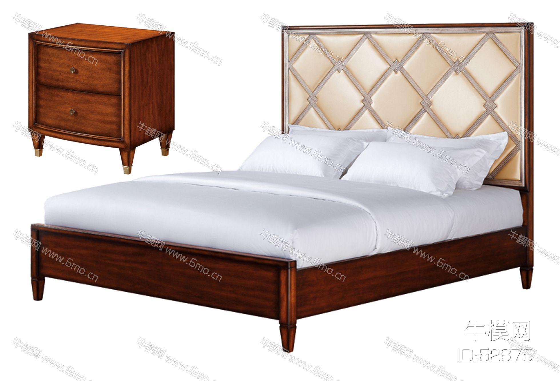 美式床和床头柜
