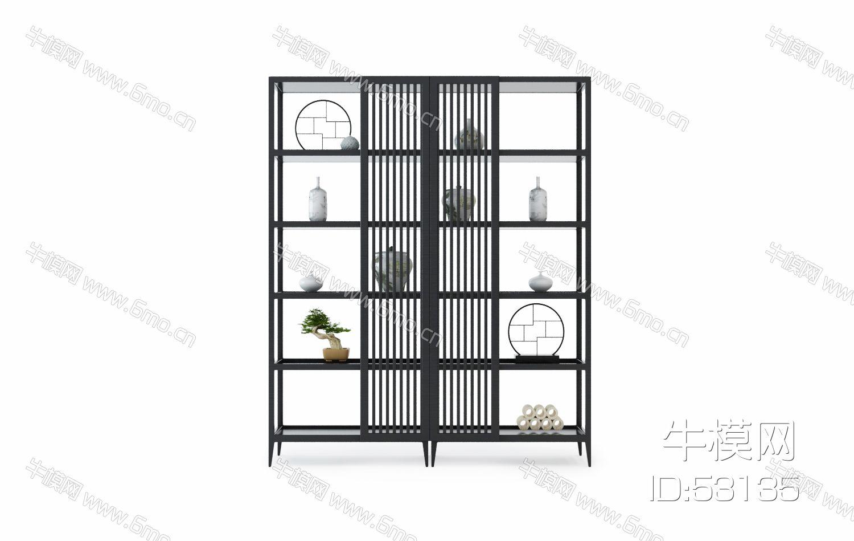 中式实木装饰架花瓶书籍组合