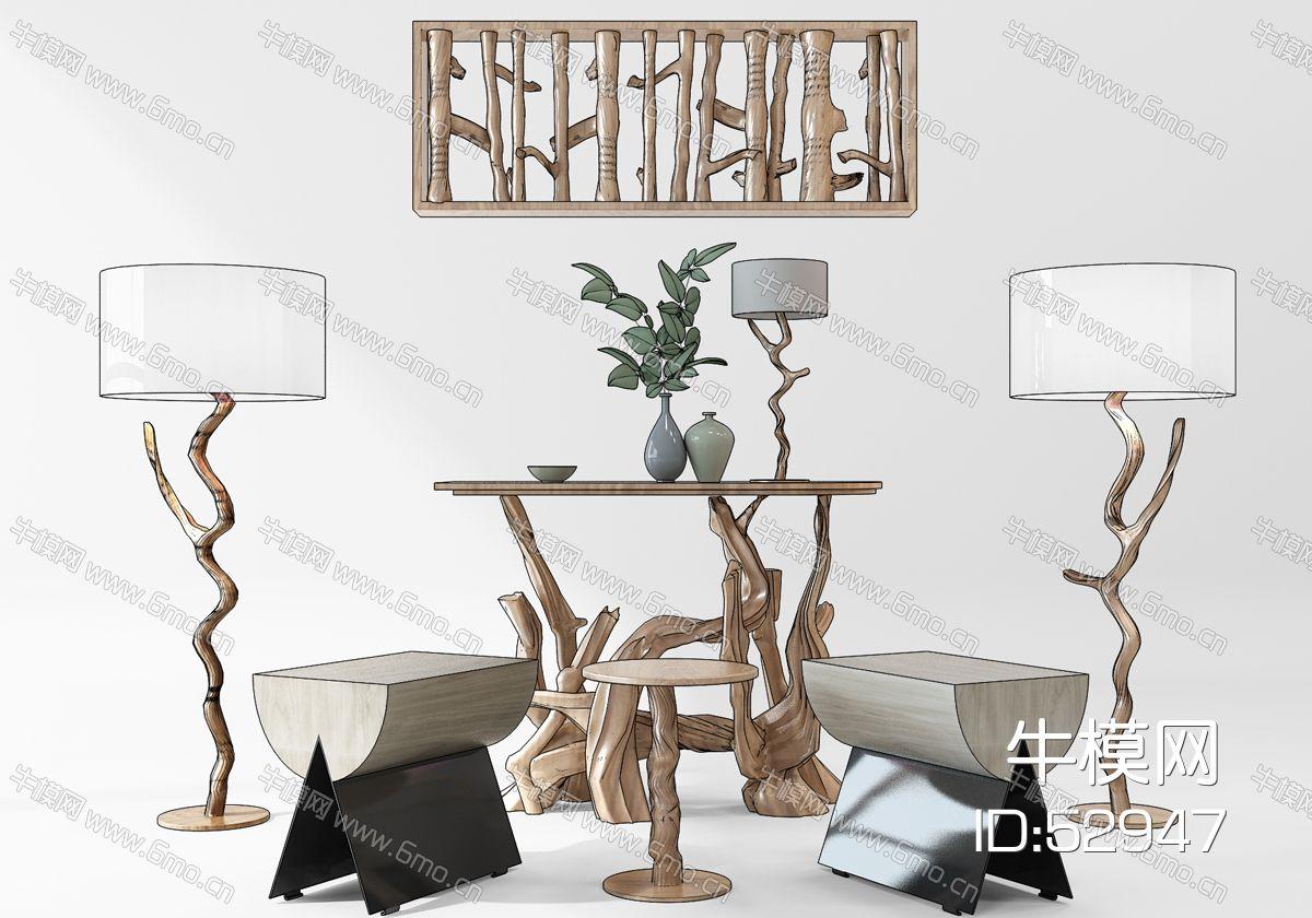 原木装饰品落地灯挂饰