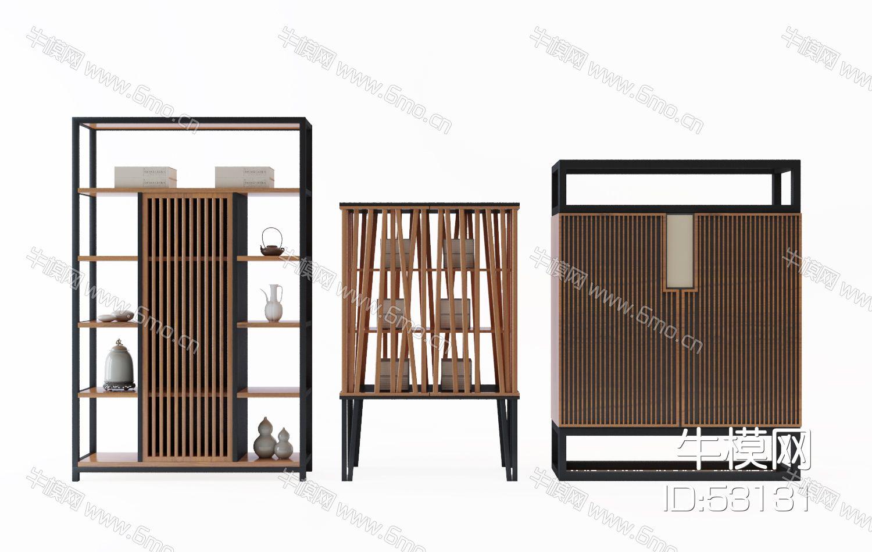 中式实木装饰柜组合