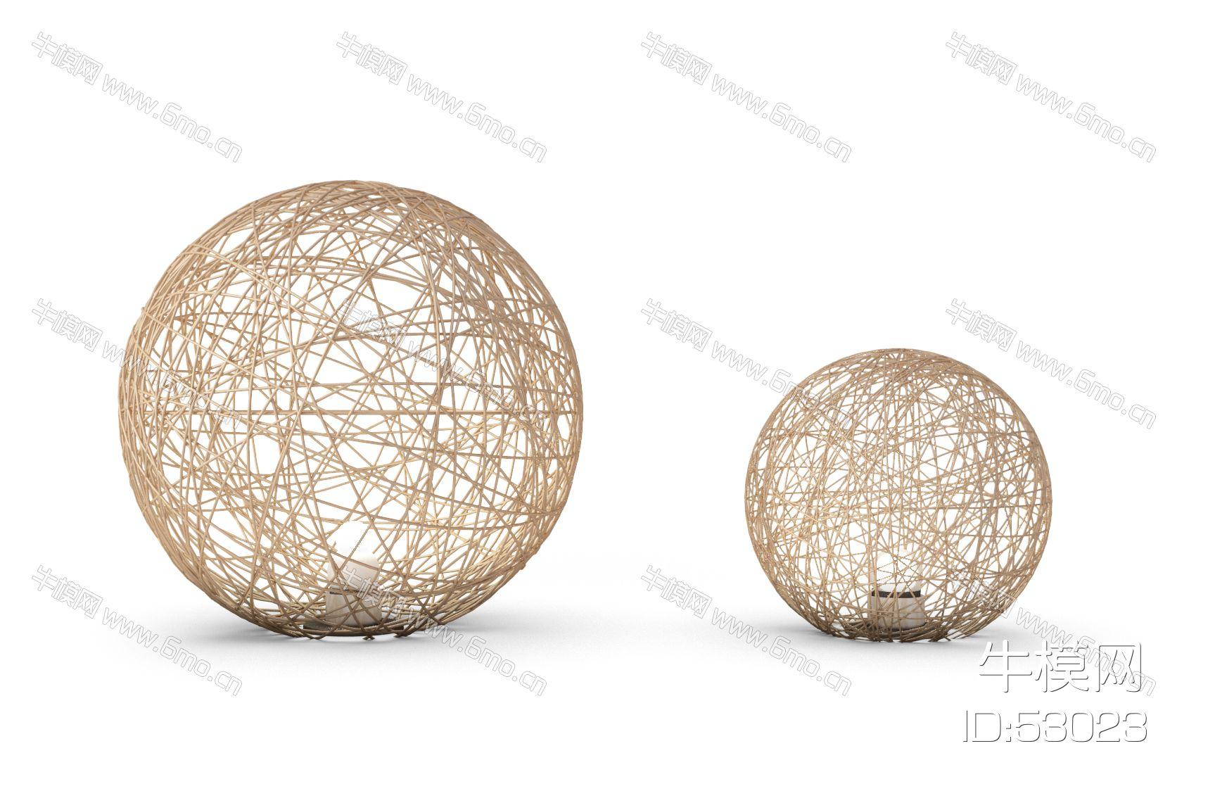 现代藤球落地灯