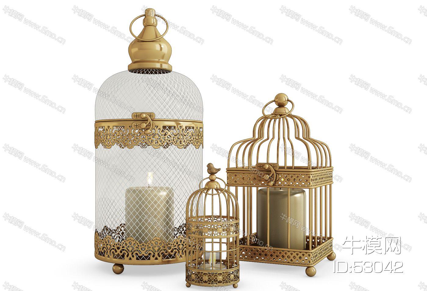 欧式铁艺鸟笼烛台灯落地灯