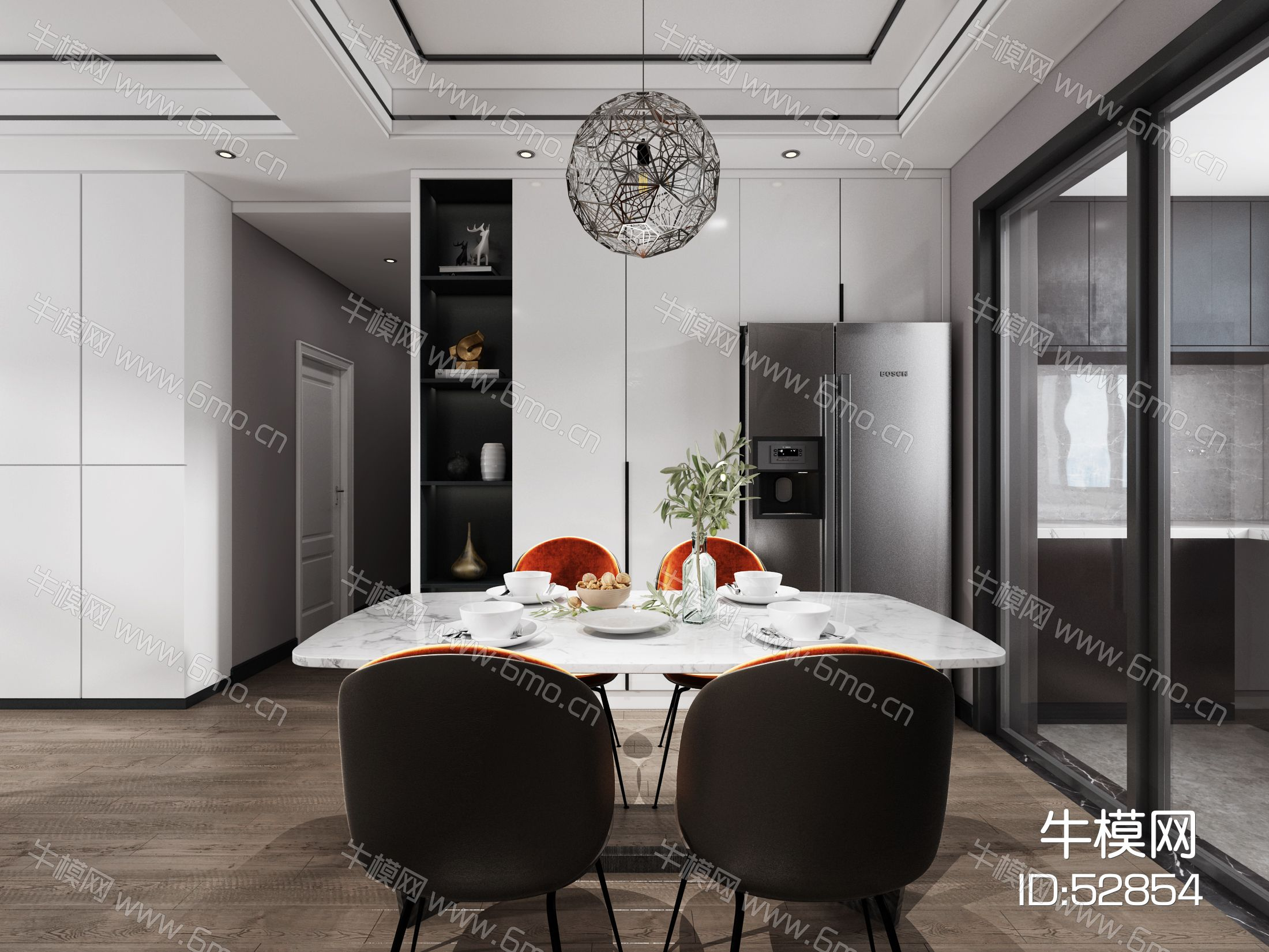 现代极简客厅餐厅,沙发,餐桌,吊灯,装饰画,2014