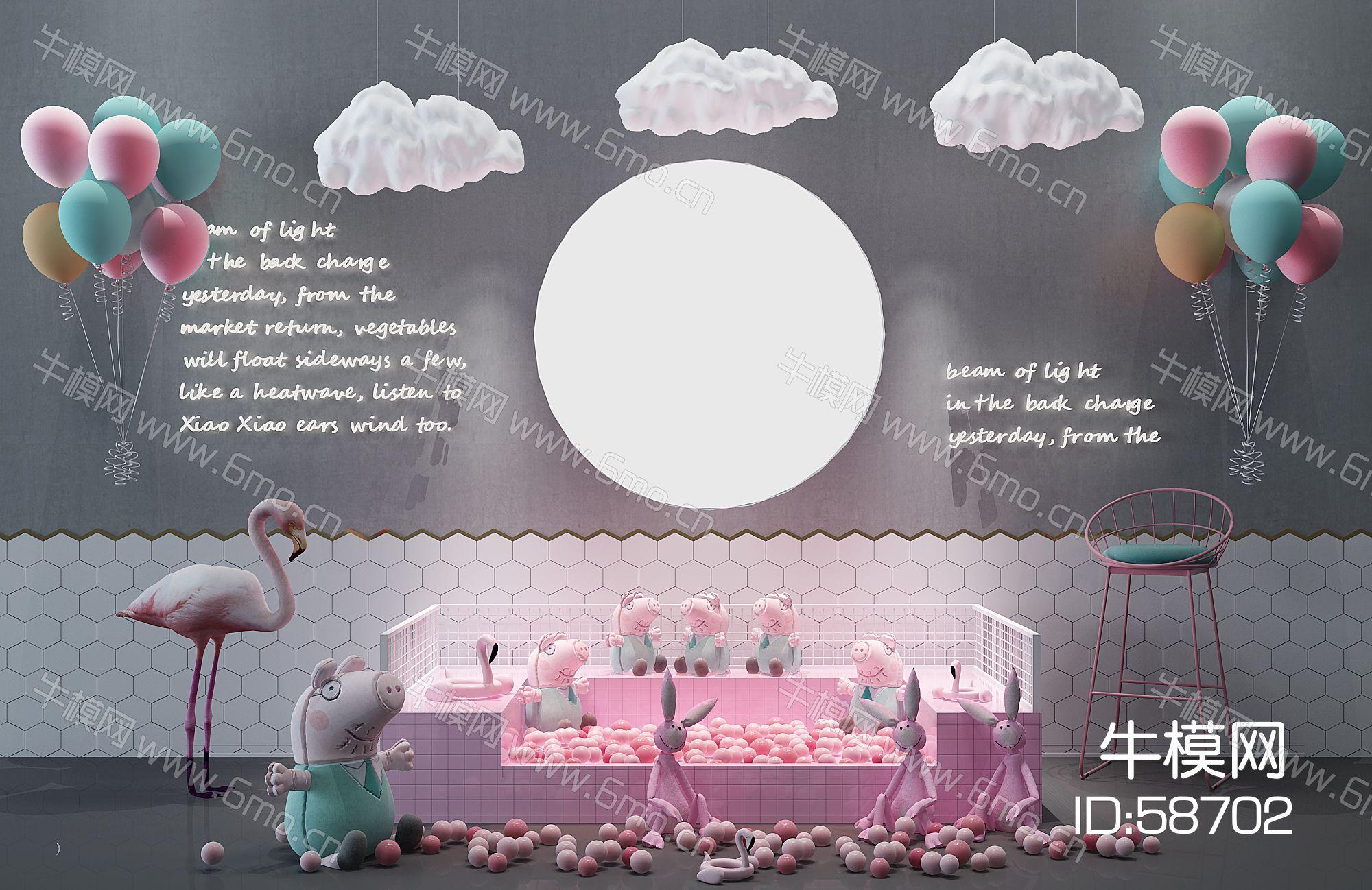 现代网红美陈背儿童公主景墙海洋球小猪佩奇气球云朵吊灯火烈鸟