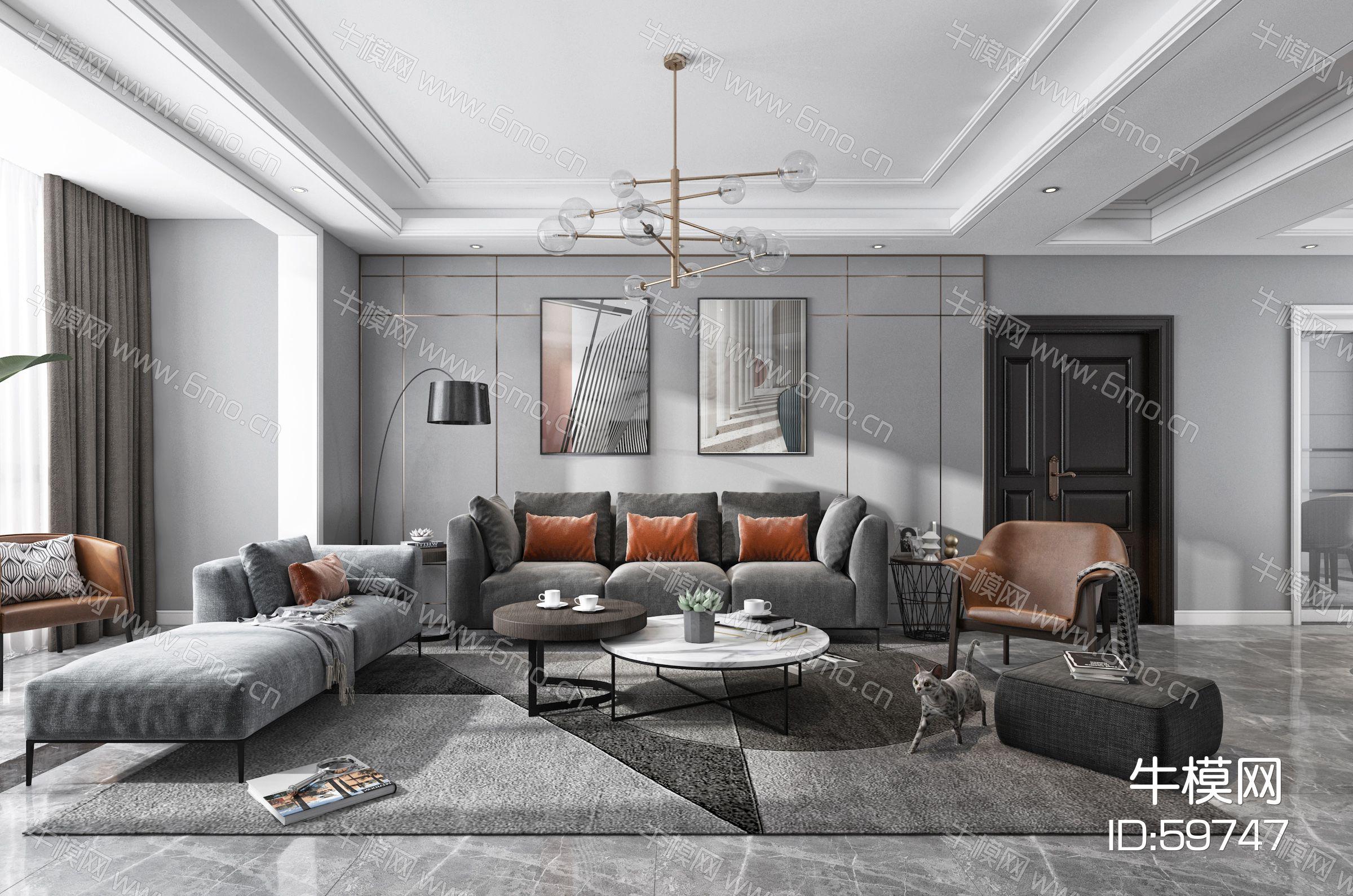 现代黑白灰客厅餐厅,沙发,餐桌,电视柜,吊灯,装饰画