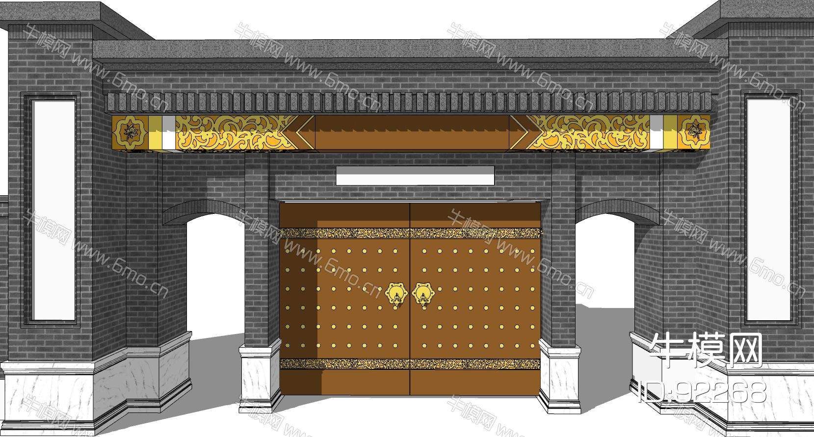 中式四合院入户大门门头门楼