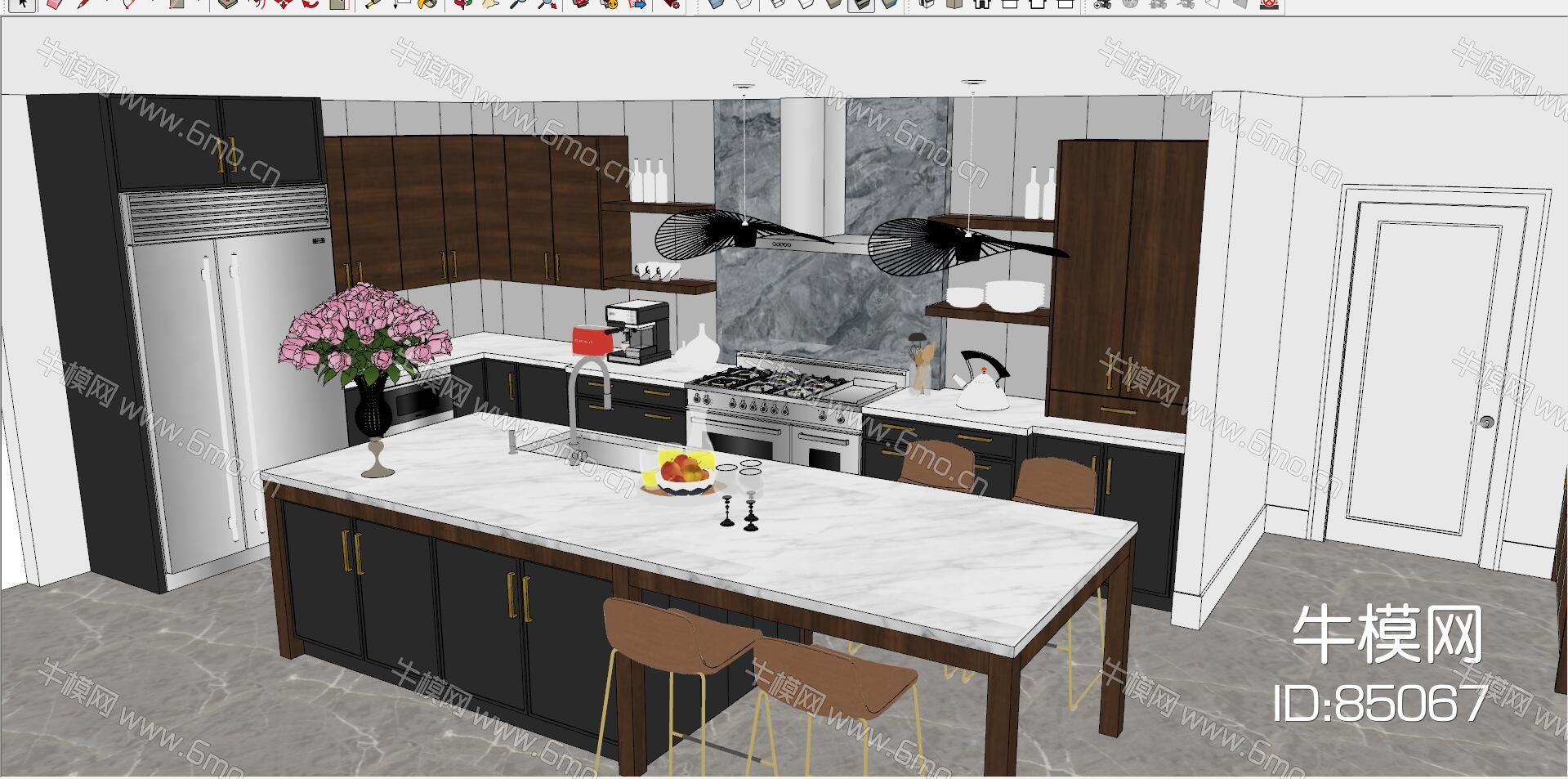 现代北欧低奢开放式厨房吧台吧椅吊灯花艺水果盘