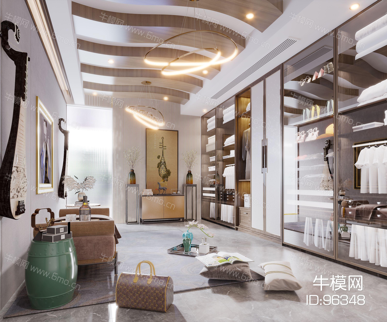 新中式现代简约轻奢风格衣帽间