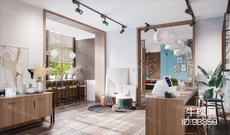新中式现代简约风格餐厅接待大厅收银处