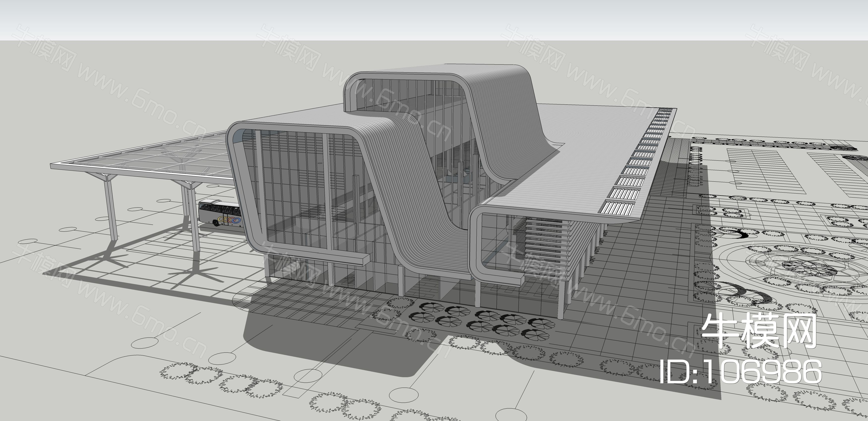 现代风格车站SU模型