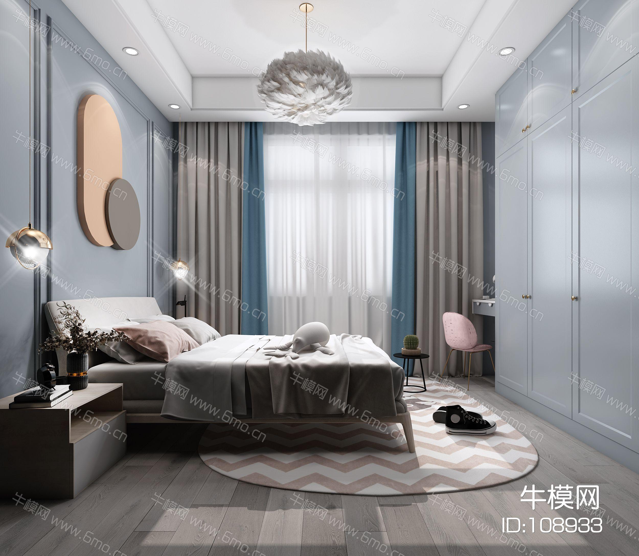 现代卧室,轻奢卧室,主卧室,