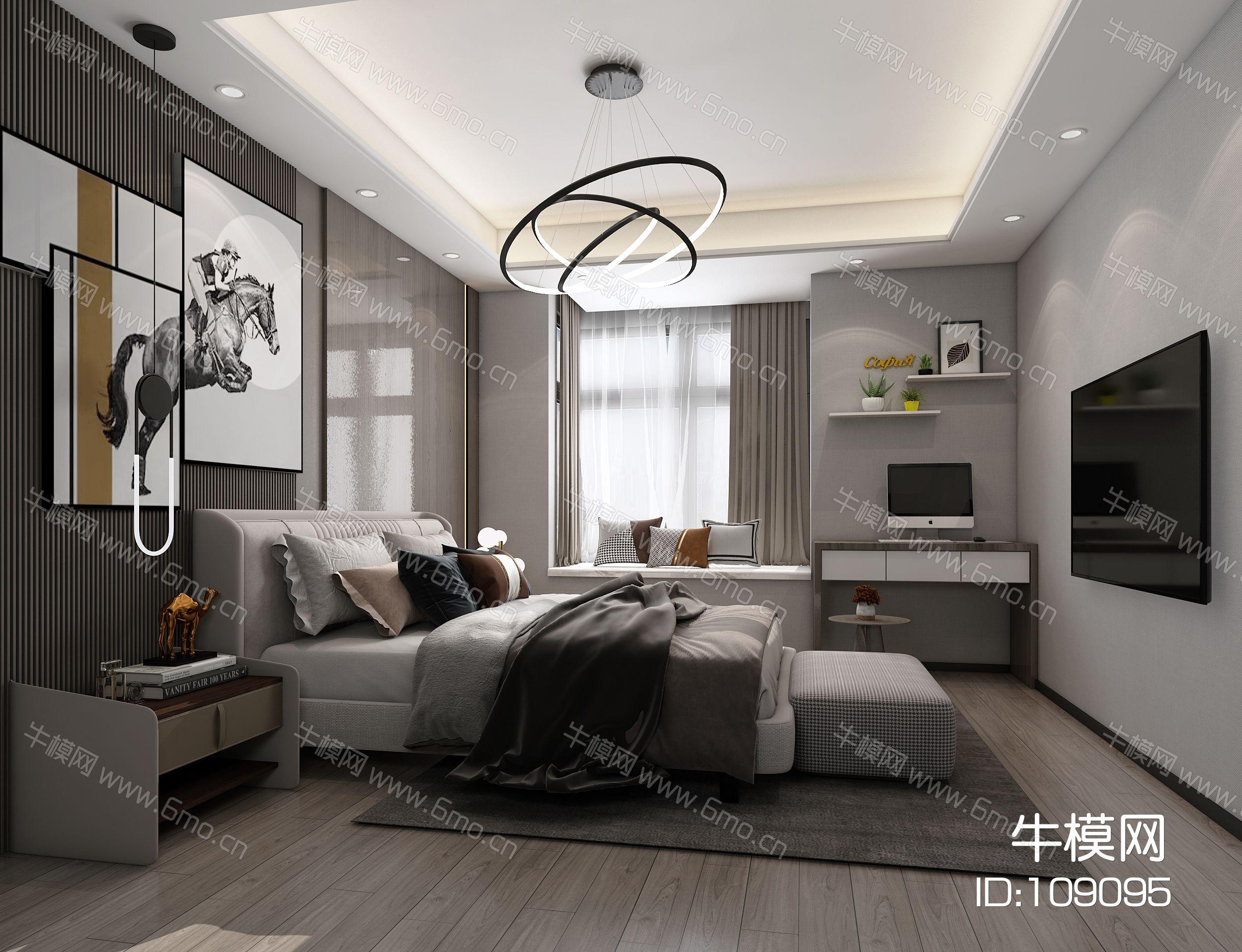 现代卧室,轻奢卧室,主卧,卧室,