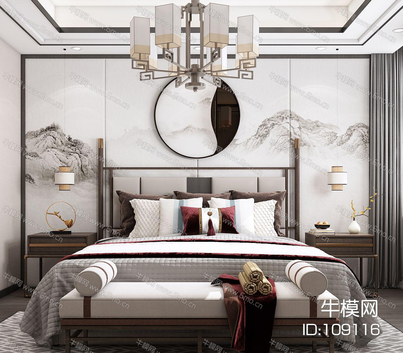 新中式卧室,卧室,主卧,
