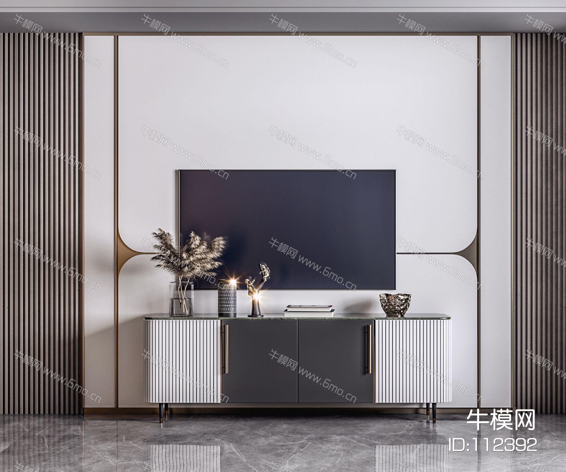新中式轻奢电视柜电视背景