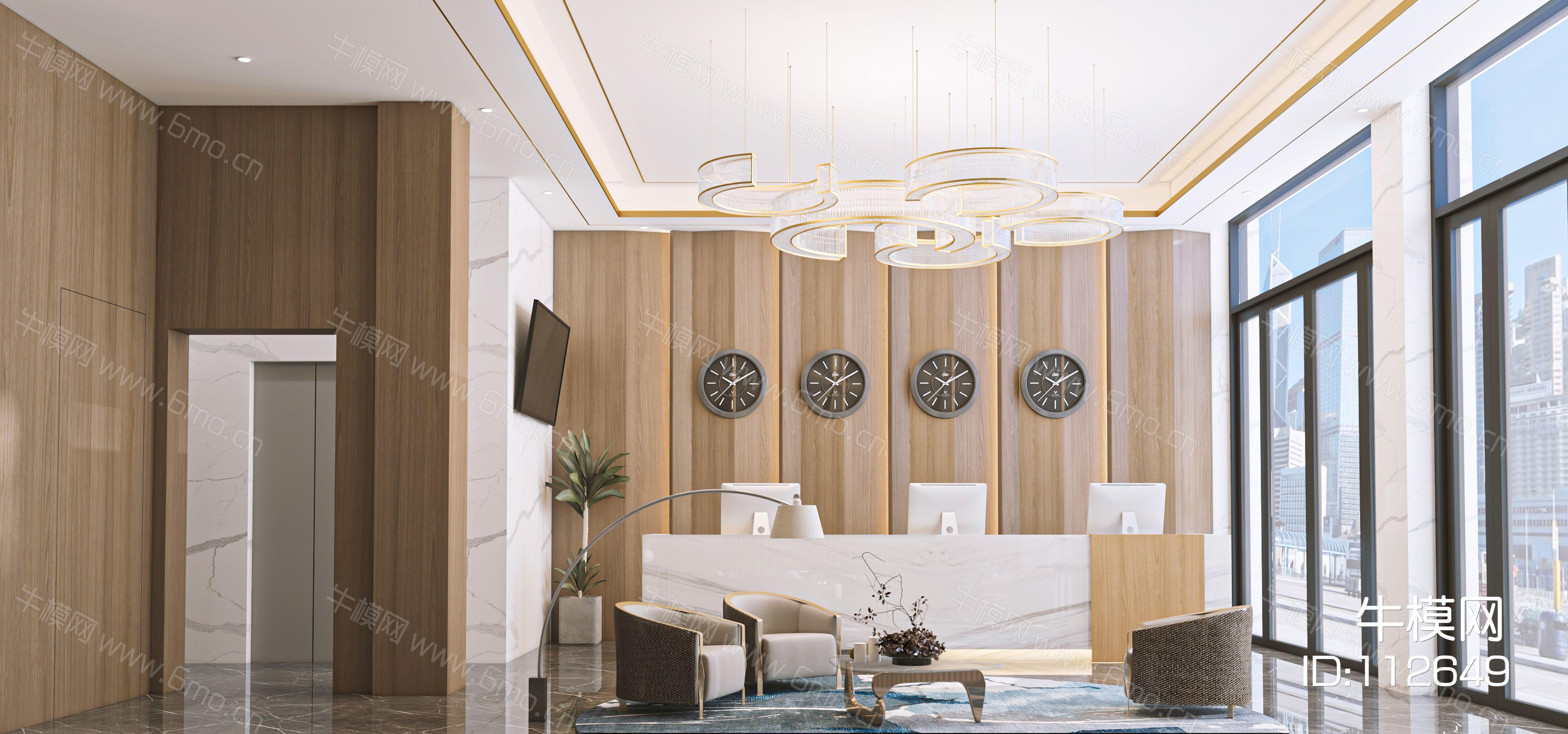 现代酒店大堂前台3d模型