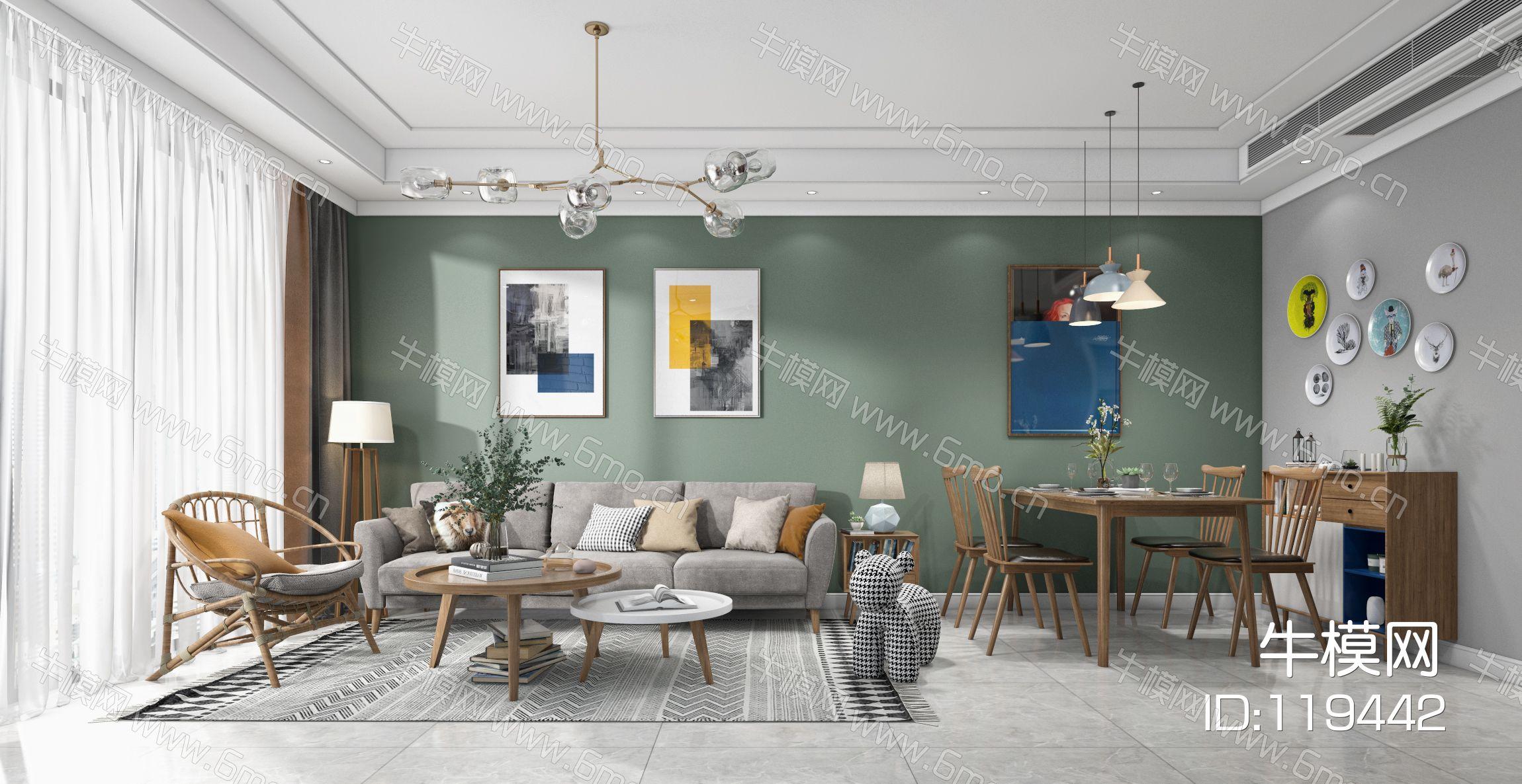 北欧客厅餐厅,沙发,餐桌,电视柜,吊灯,装饰画