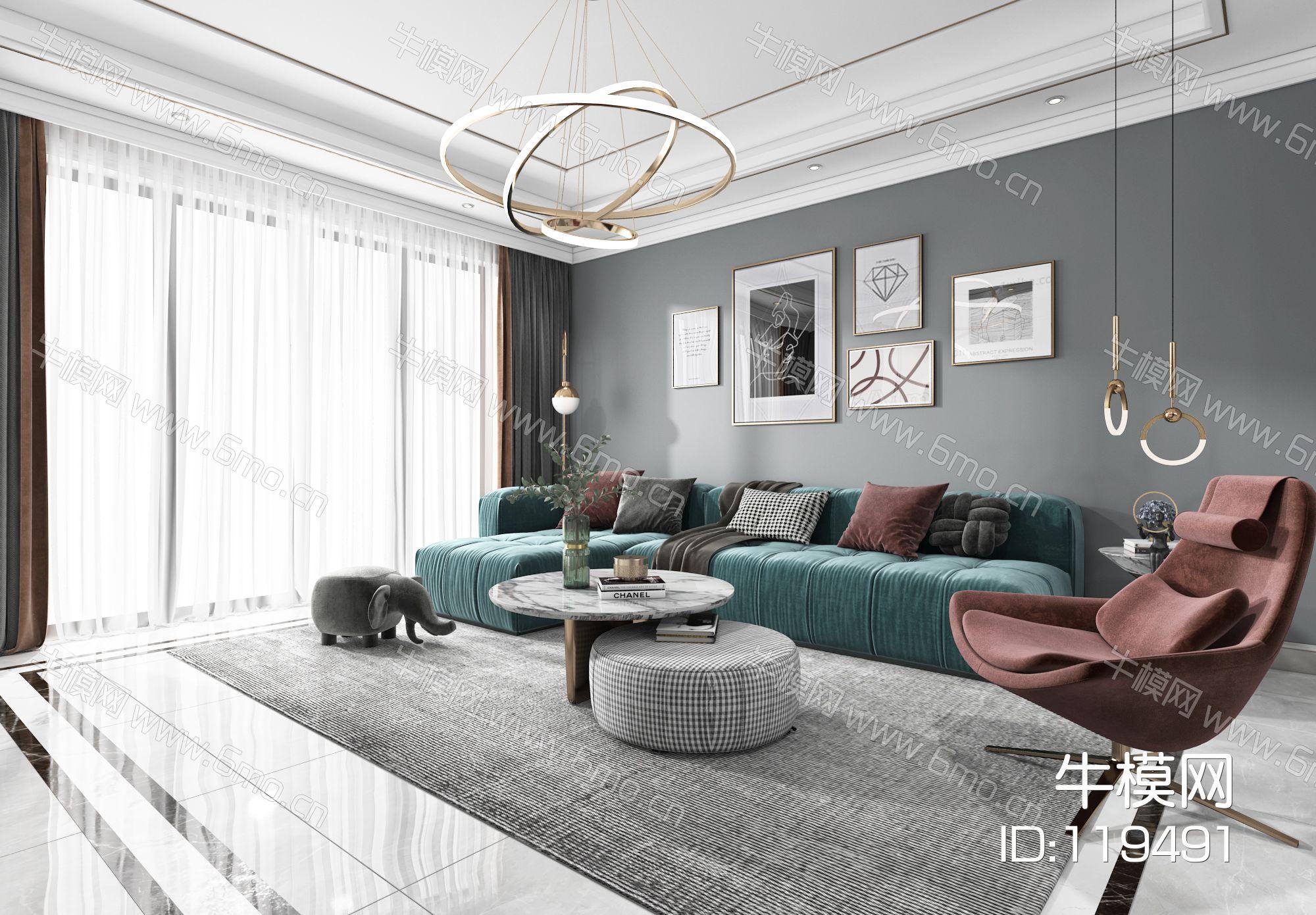 现代客厅餐厅,沙发,餐桌,电视柜,吊灯,墙饰,装饰画
