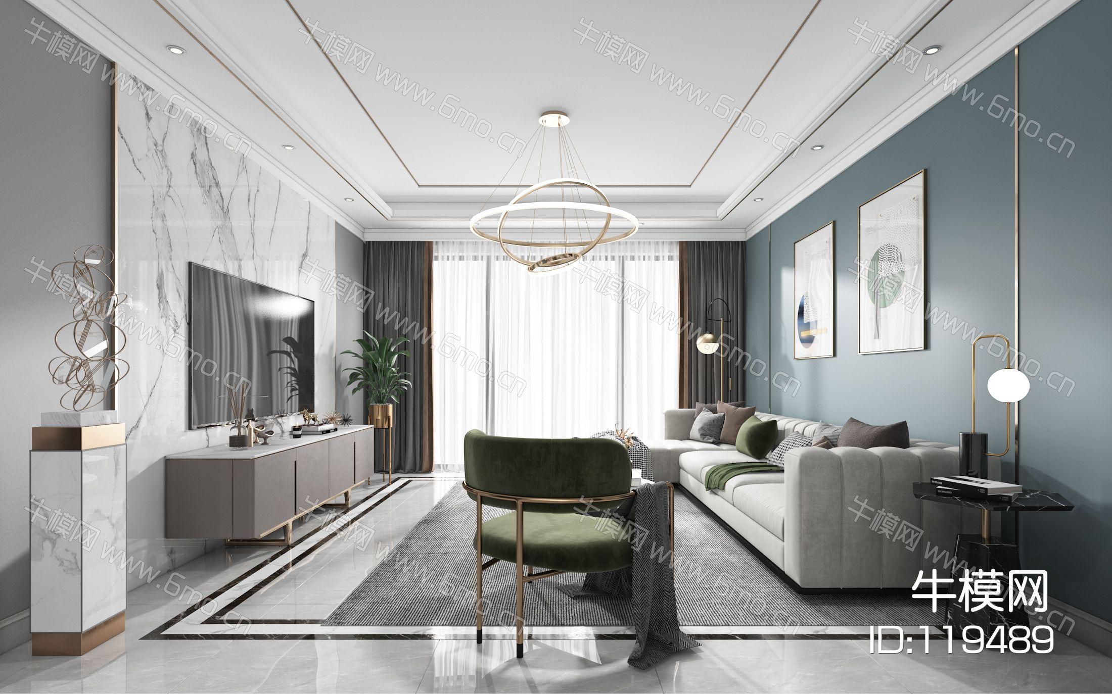 现代客厅餐厅,沙发,餐桌,电视柜,酒柜,吊灯,墙饰,装饰画