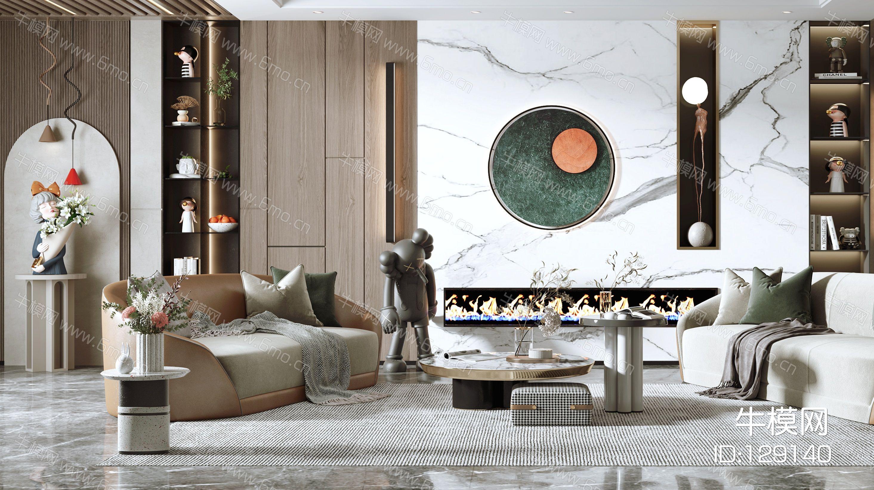 现代客厅,沙发茶几组合,沙发背景墙,陈设摆件,单椅