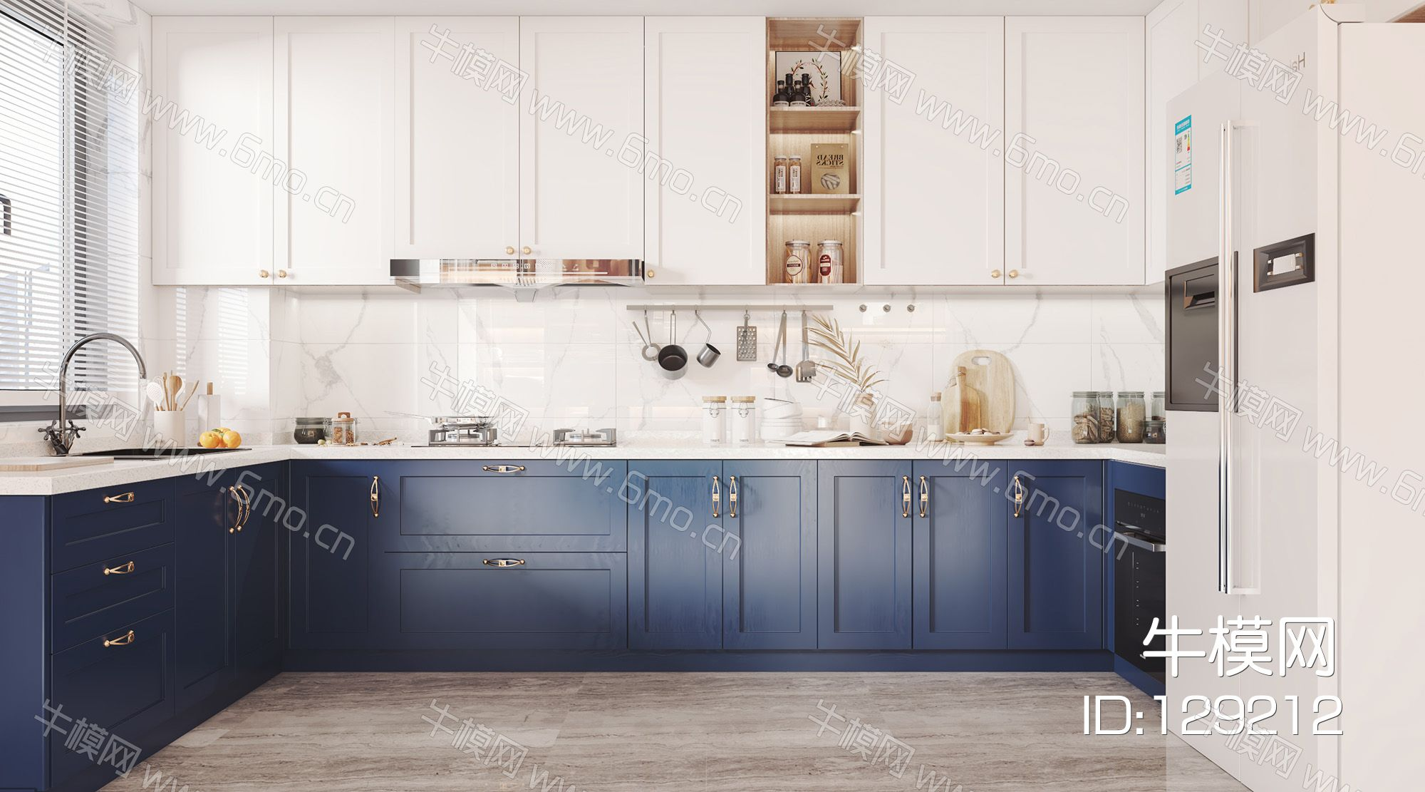 北欧开放式厨房 带橱柜厨具嵌入式冰箱