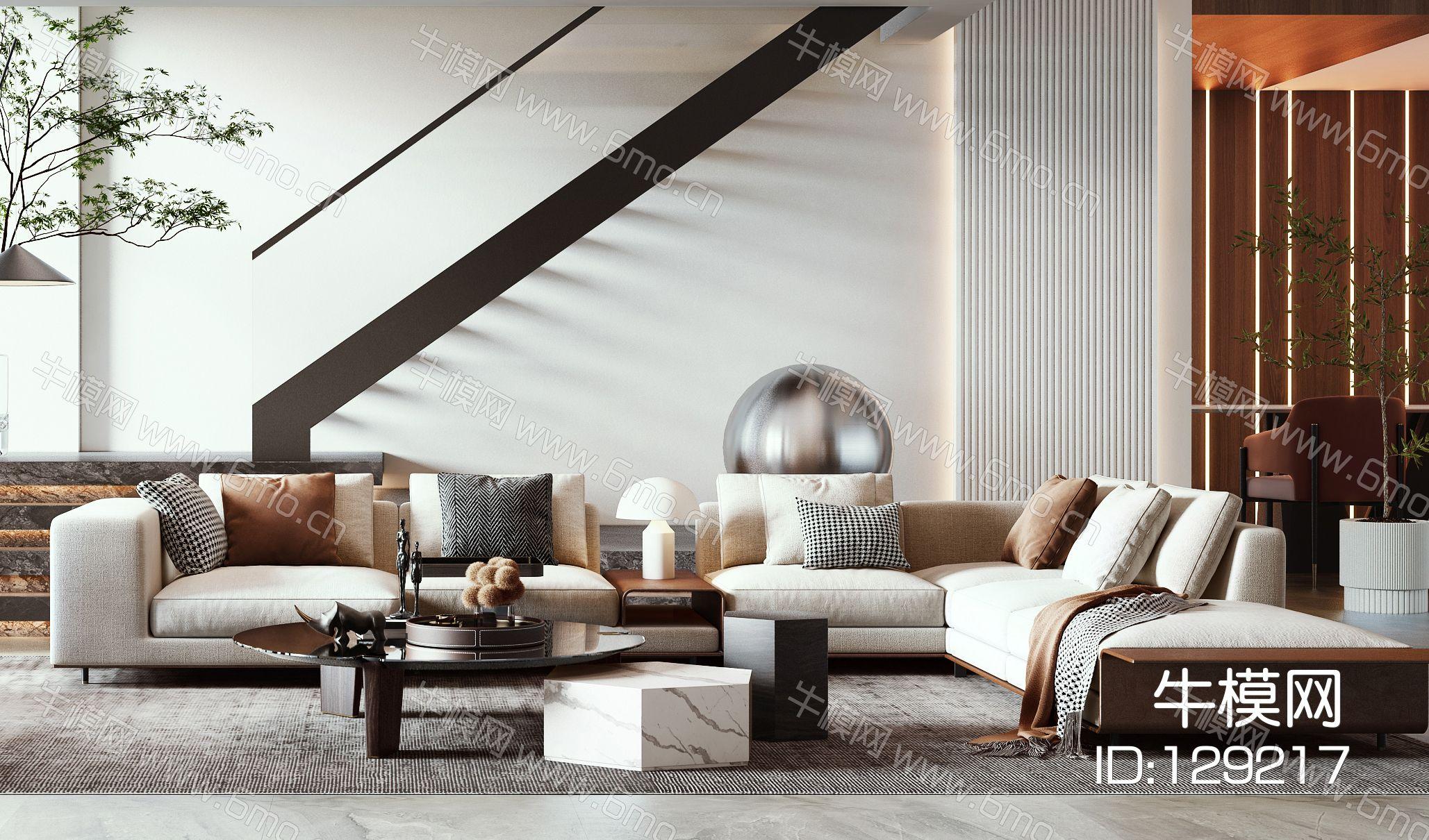 现代轻奢别墅客厅多人沙发休闲单椅楼梯