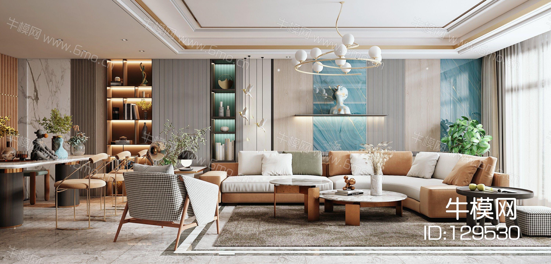 现代客餐厅,沙发茶几组合,餐桌椅,陈设摆件,背景墙,灯具,单椅