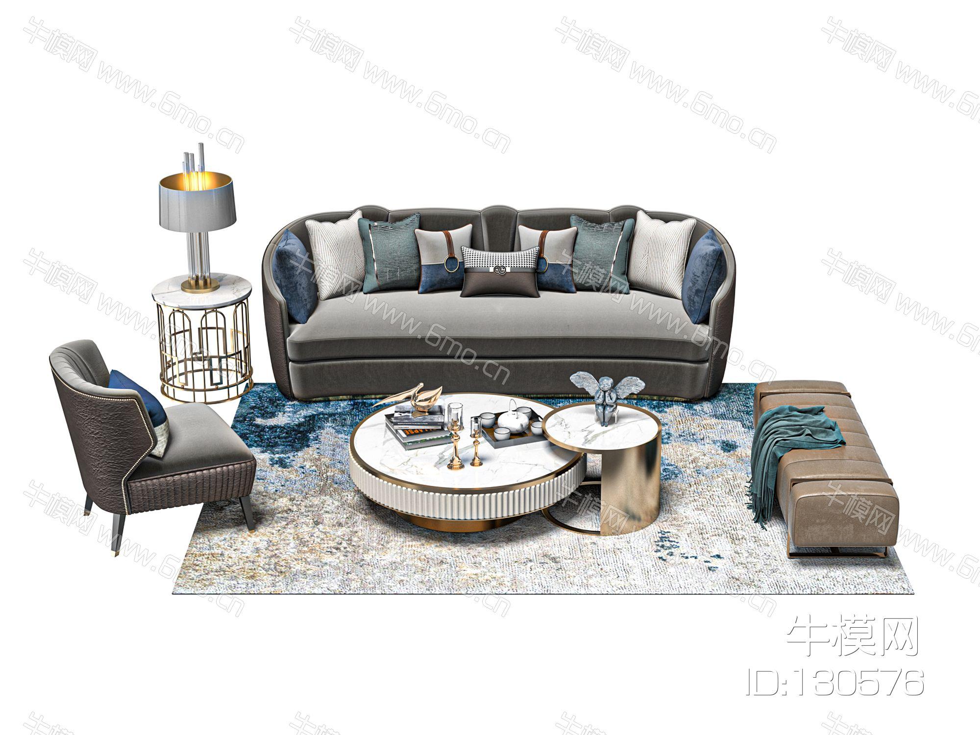 简欧客厅沙发茶几组合