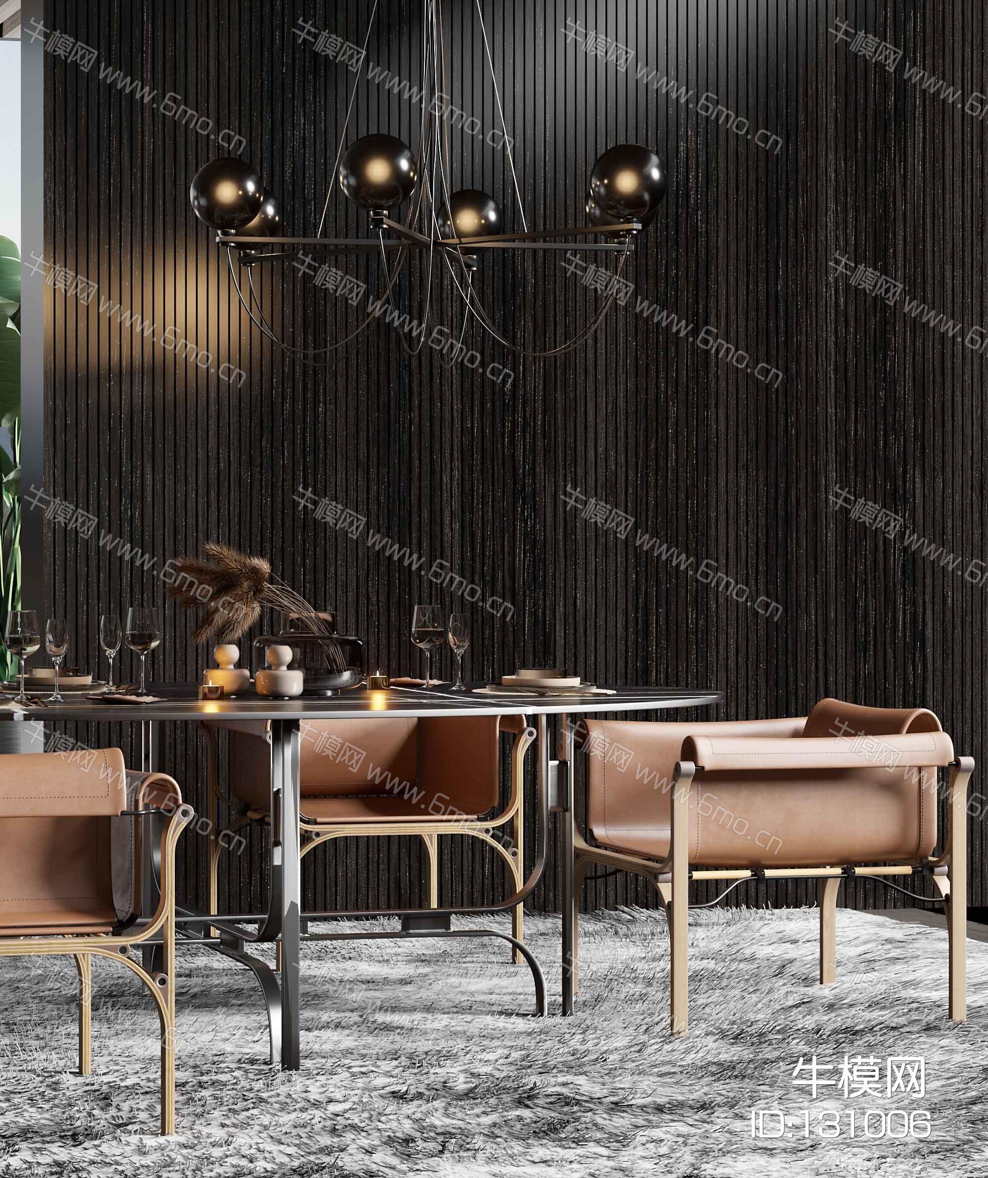 现代餐厅现代椭圆形大理石餐桌椅