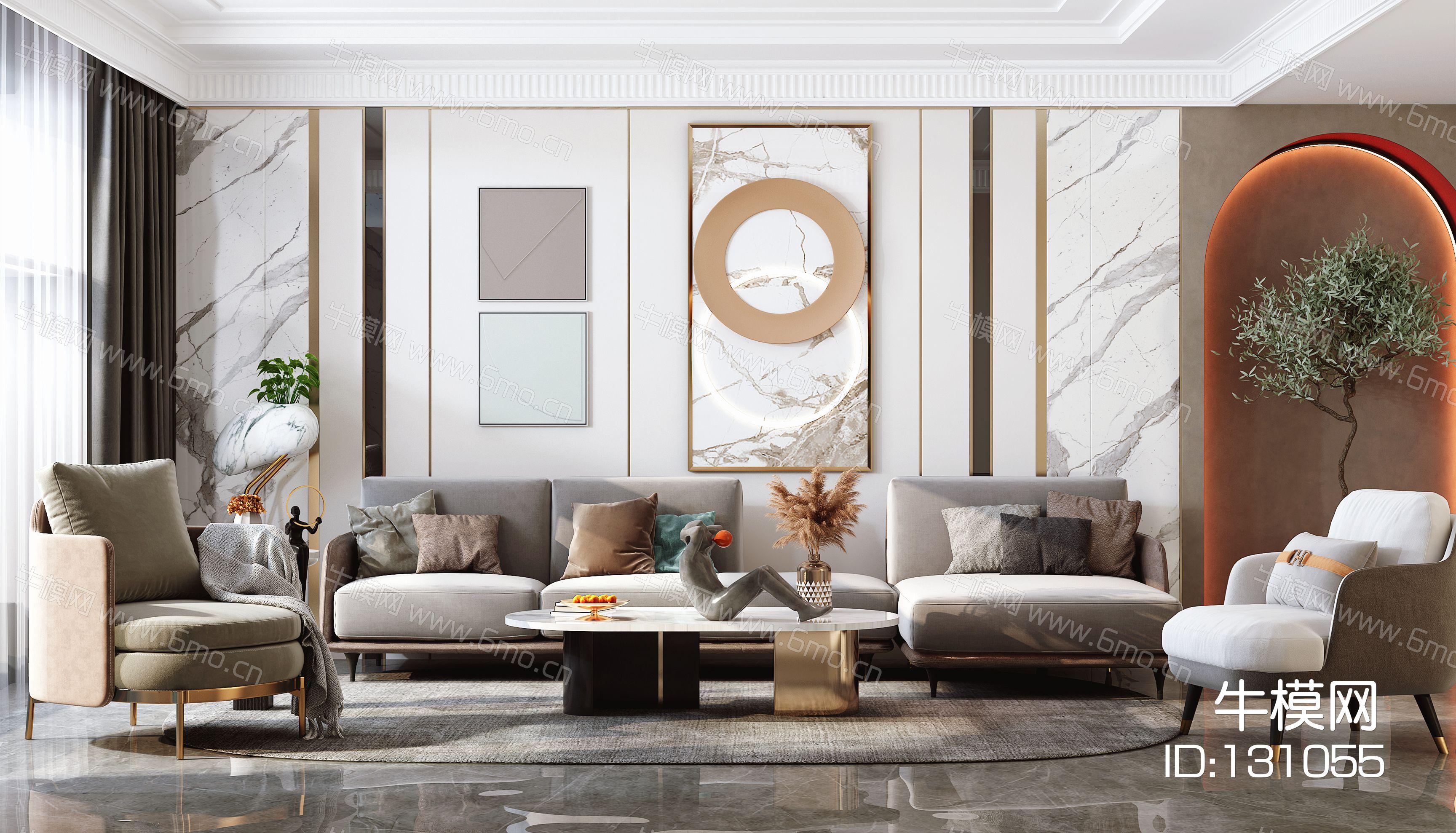 欧式客厅,沙发茶几组合,陈设摆件,背景墙,灯具,单椅