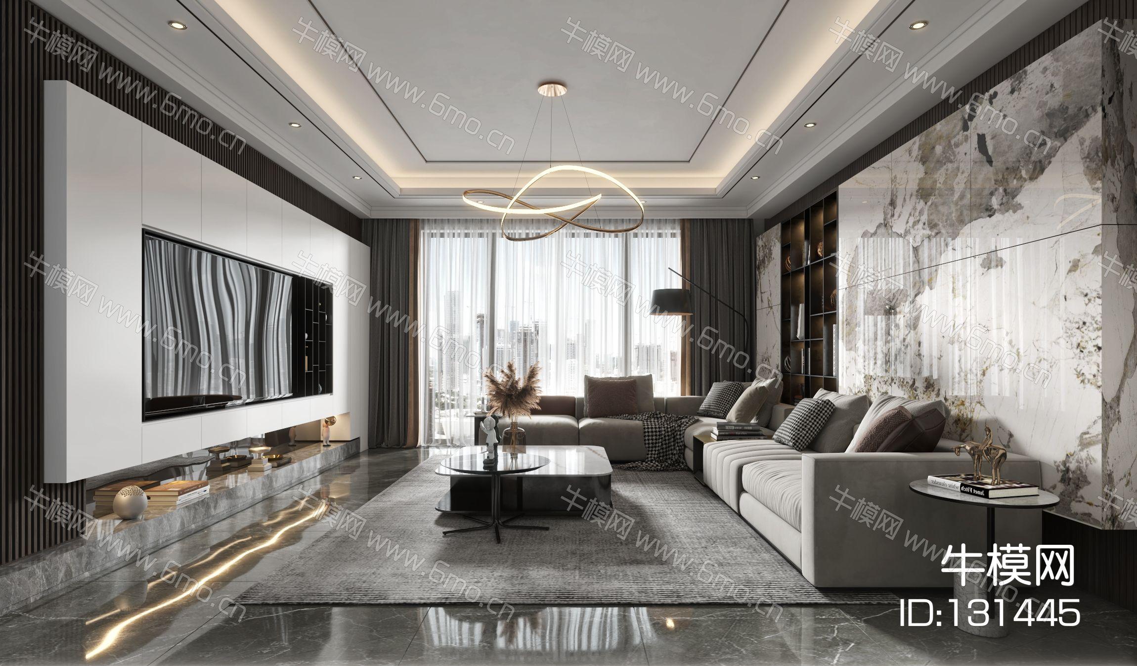 现代客厅餐厅,沙发,餐桌,电视柜,吊灯,装饰画
