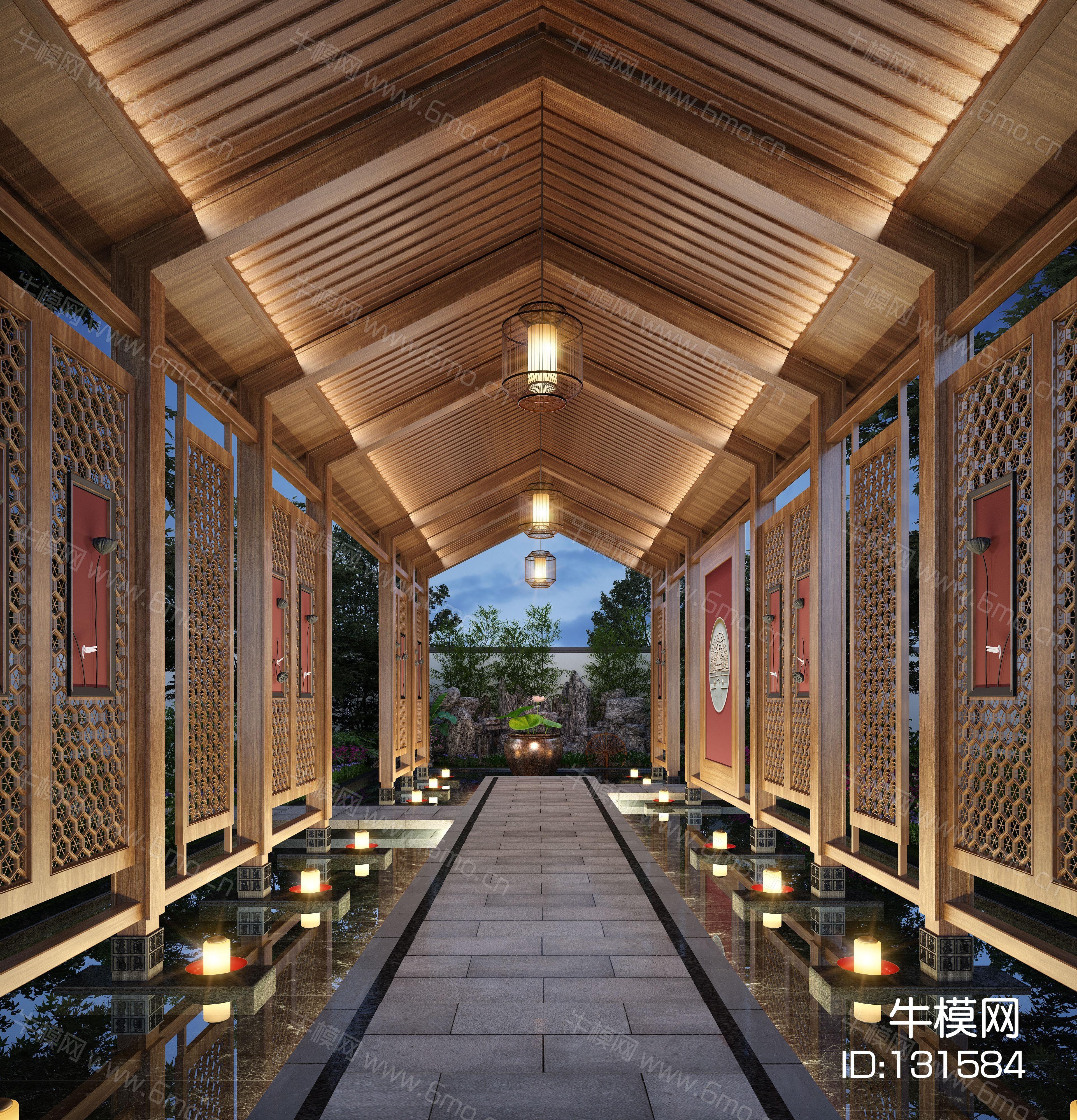 新中式庭院廊架