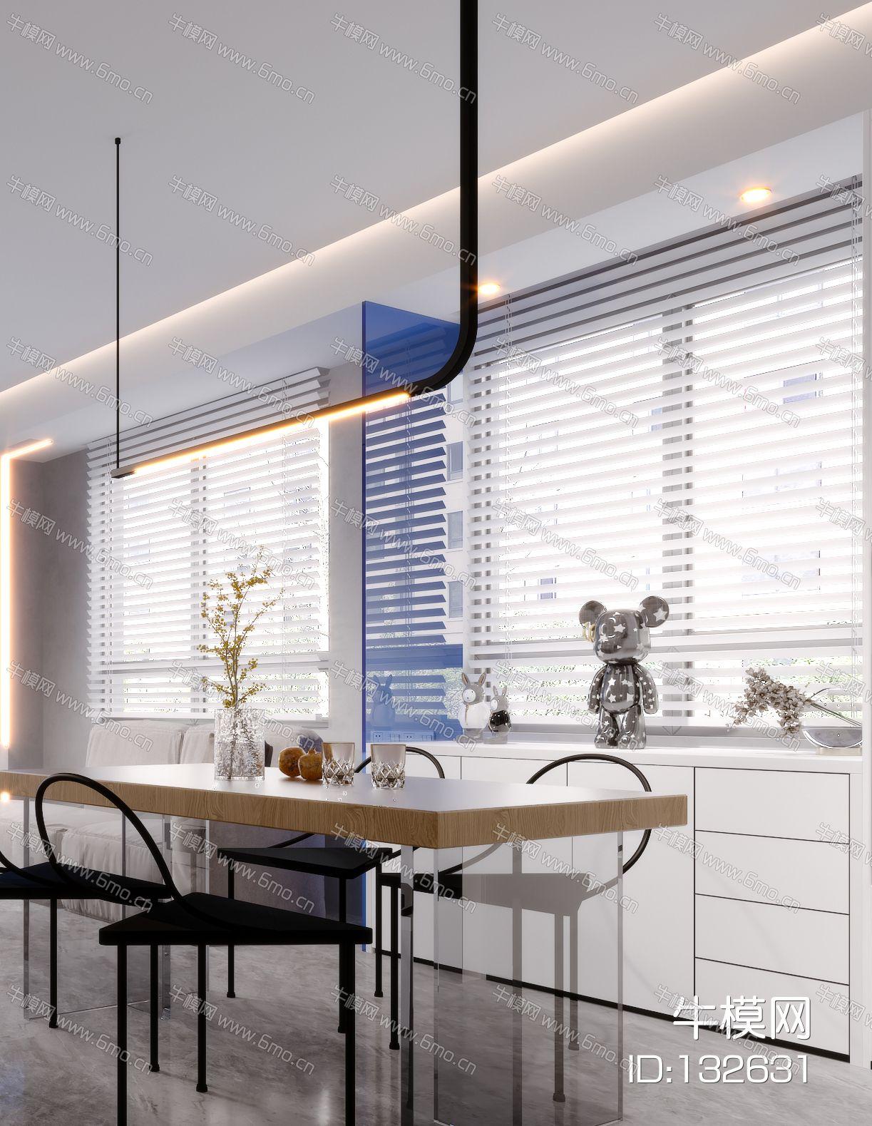 现代极简简约北欧轻奢风格客餐厅