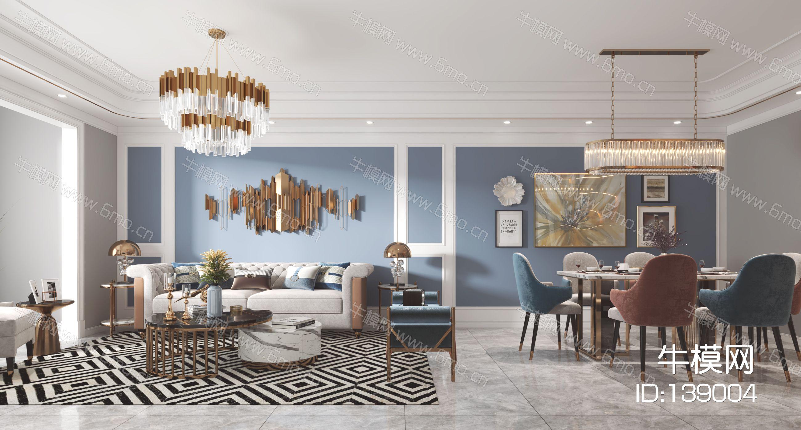 简欧客厅餐厅,沙发,餐桌,电视柜,酒柜,吊灯,装饰画
