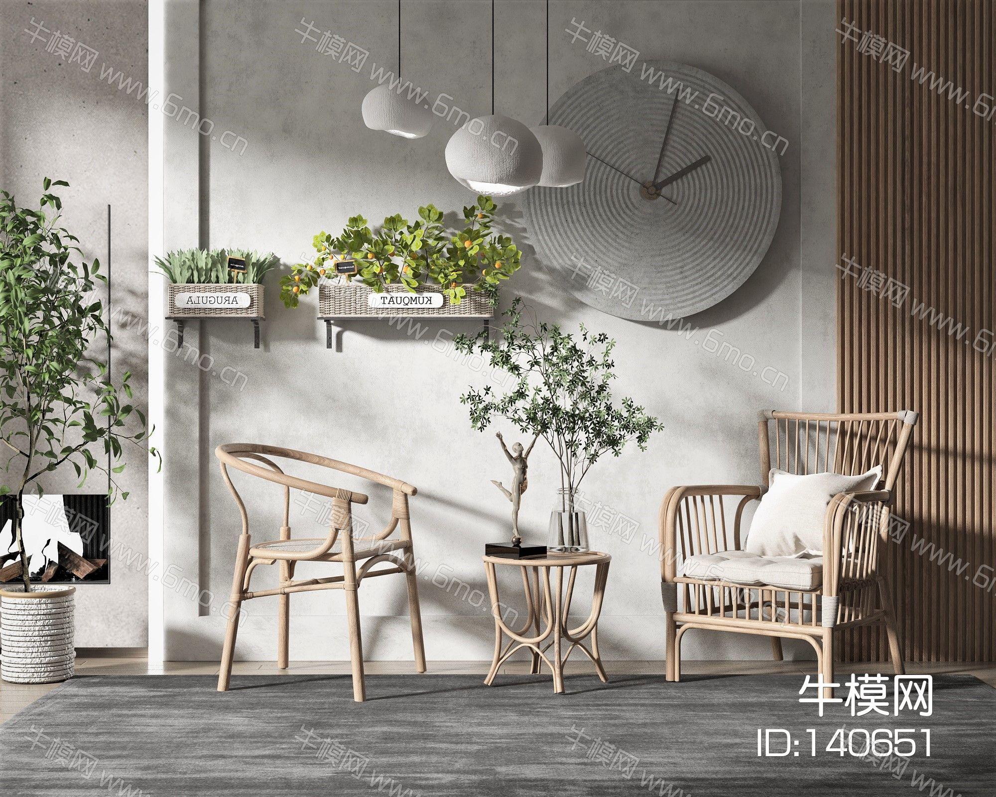 现代风格单椅边几,墙饰,挂墙植物