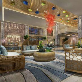 新中式酒店大厅休闲区3D模型