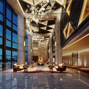 现代酒店大堂休息区3D模型