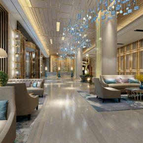 酒店大堂接待区前台组合3D模型